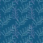Homeland Flora Floating Leaves in Teal by radgedesign