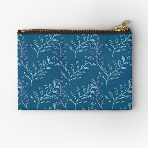 Homeland Flora Floating Leaves in Teal Zipper Pouch