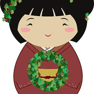 Kokeshi Christmas Wreath by thedustyphoenix