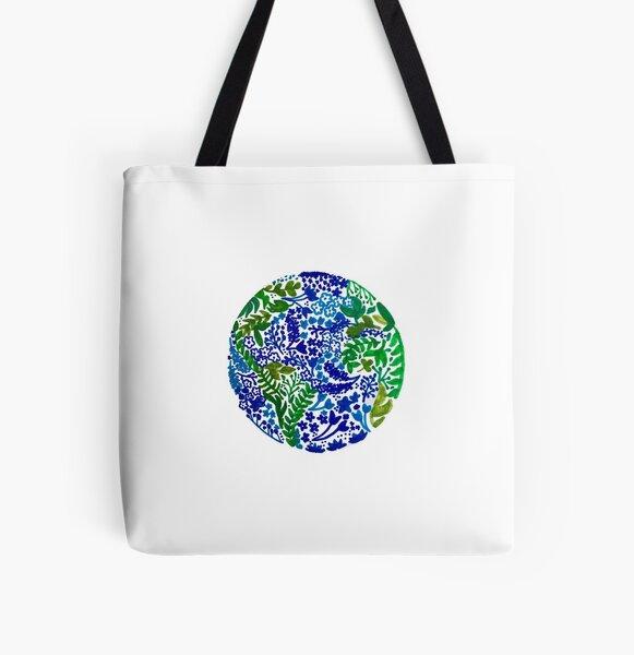Die Erde lacht in Blumen Allover-Print Tote Bag