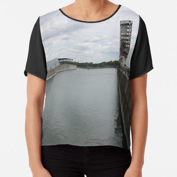Water, river, city, bridge, sky, sea, skyline, architecture, landscape, travel, buildings, building, industry, reflection, harbor, urban Chiffon Top