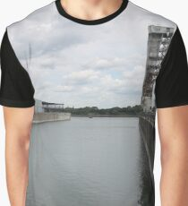 Water, river, city, bridge, sky, sea, skyline, architecture, landscape, travel, buildings, building, industry, reflection, harbor, urban Graphic T-Shirt