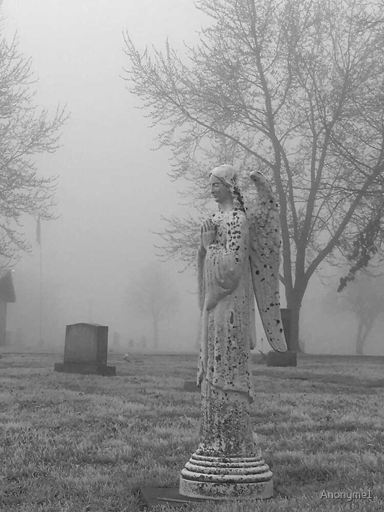 Weathered Angel in Foggy Cemetery by Anonyme1