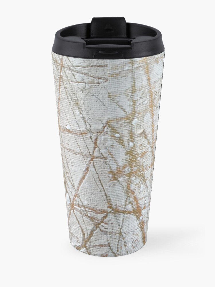 Alternate view of Gold and White Acrylic Pour #2 Travel Mug