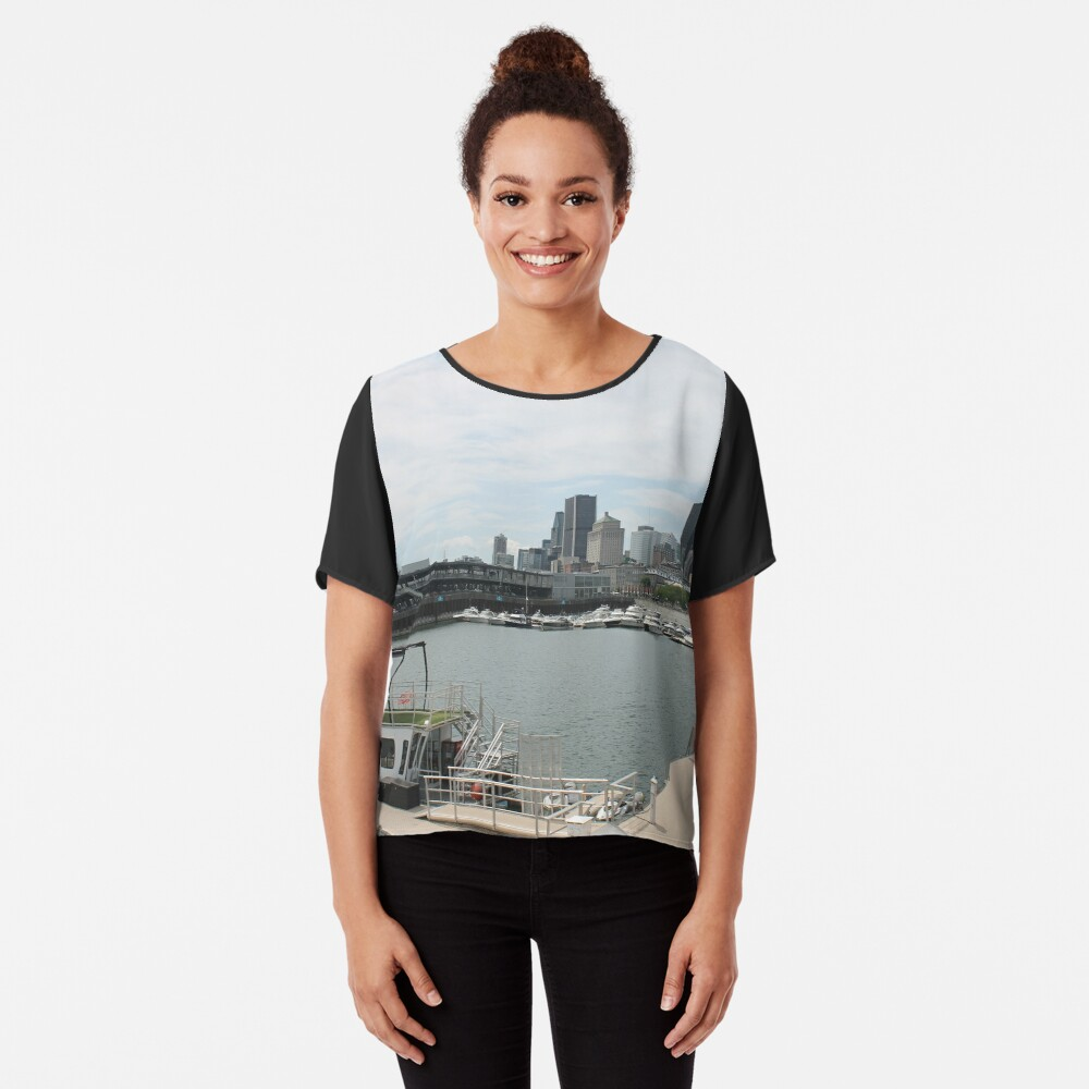 City, skyline, water, architecture, river, buildings, cityscape, building, sky, panorama, sea, urban, blue, view, downtown, landscape Chiffon Top
