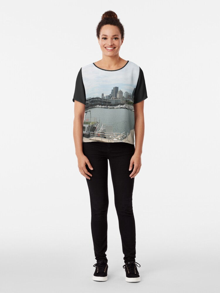 Alternate view of City, skyline, water, architecture, river, buildings, cityscape, building, sky, panorama, sea, urban, blue, view, downtown, landscape Chiffon Top