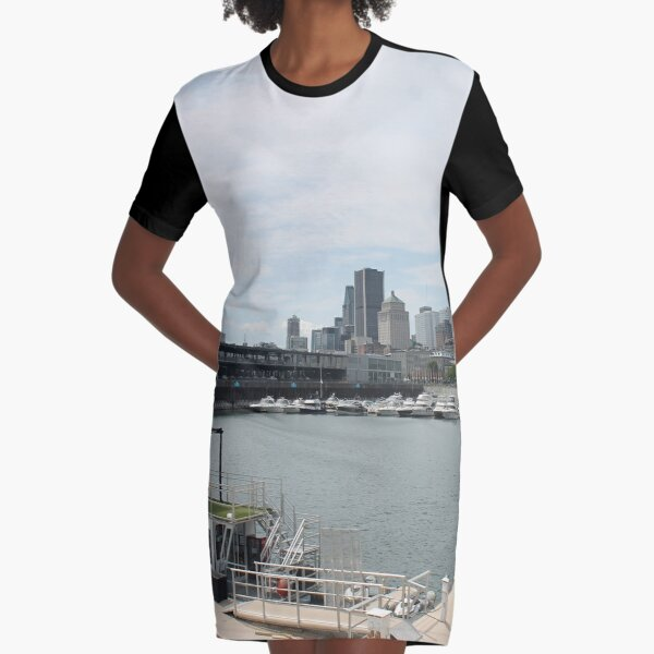 City, skyline, water, architecture, river, buildings, cityscape, building, sky, panorama, sea, urban, blue, view, downtown, landscape Graphic T-Shirt Dress