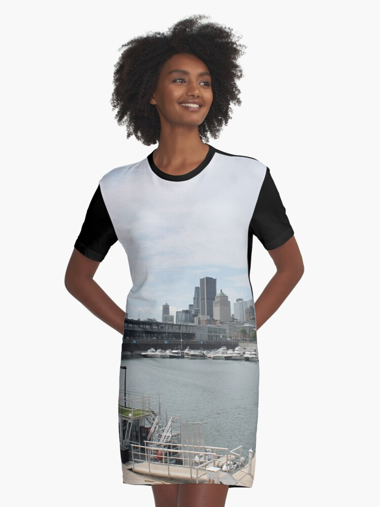 City, skyline, water, architecture, river, buildings, cityscape, building, sky, panorama, sea, urban, blue, view, downtown, landscape Graphic T-Shirt Dress Front