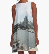 City, skyline, water, architecture, river, buildings, cityscape, building, sky, panorama, sea, urban, blue, view, downtown, landscape A-Line Dress