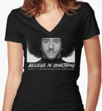 I'm with Kap Believe in Something take a knee Women's Fitted V-Neck T-Shirt