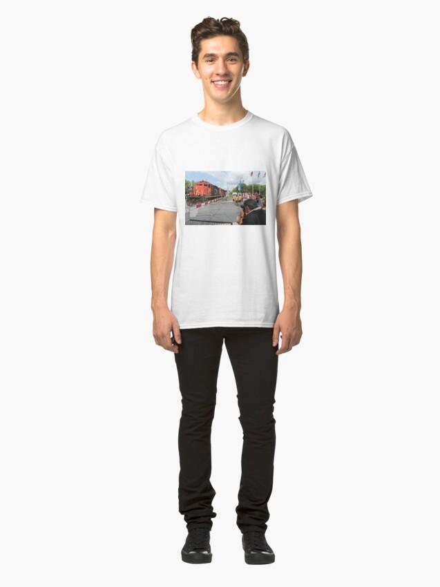 Alternate view of #Train, #railway, #railroad, #locomotive, #station, #transportation, #transport, #rail, #travel, #track, #engine, #diesel, #red, #platform, #old, #steam, #traffic Classic T-Shirt