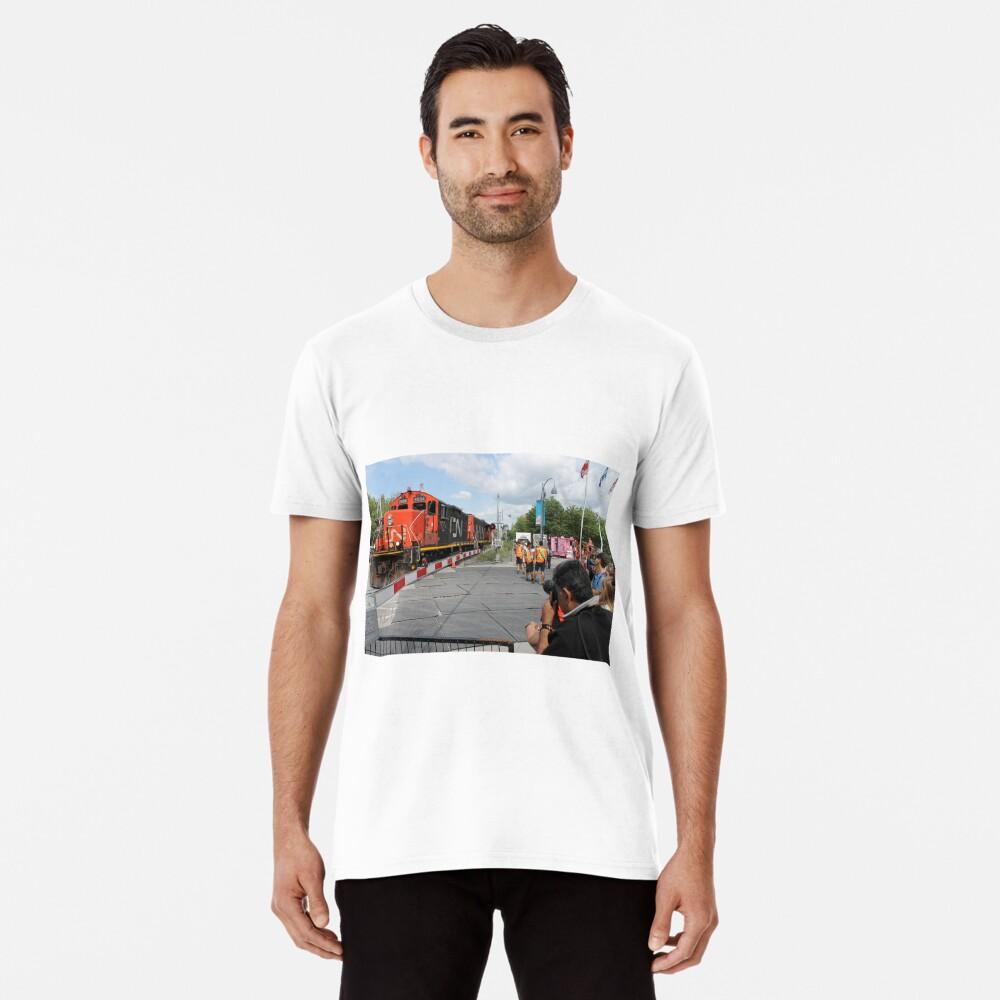 #Train, #railway, #railroad, #locomotive, #station, #transportation, #transport, #rail, #travel, #track, #engine, #diesel, #red, #platform, #old, #steam, #traffic Men's Premium T-Shirt Front