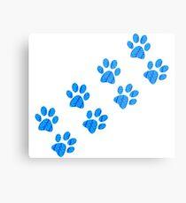 Blue Spotted Paw Print- Walking Metal Print