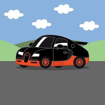 Italian Hyper Car Cartoon (Black & Orange) by nutandbolt
