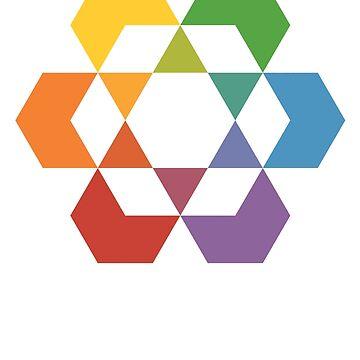 Hexagonal Awareness Star Dattern (white infill) by hexagrahamaton