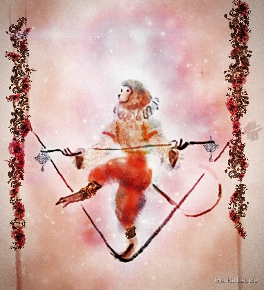 Tightrope Walking Circus Monkey  With Watercolor Flower Garlands and a Pink Galaxy Sky by Monica Laipple