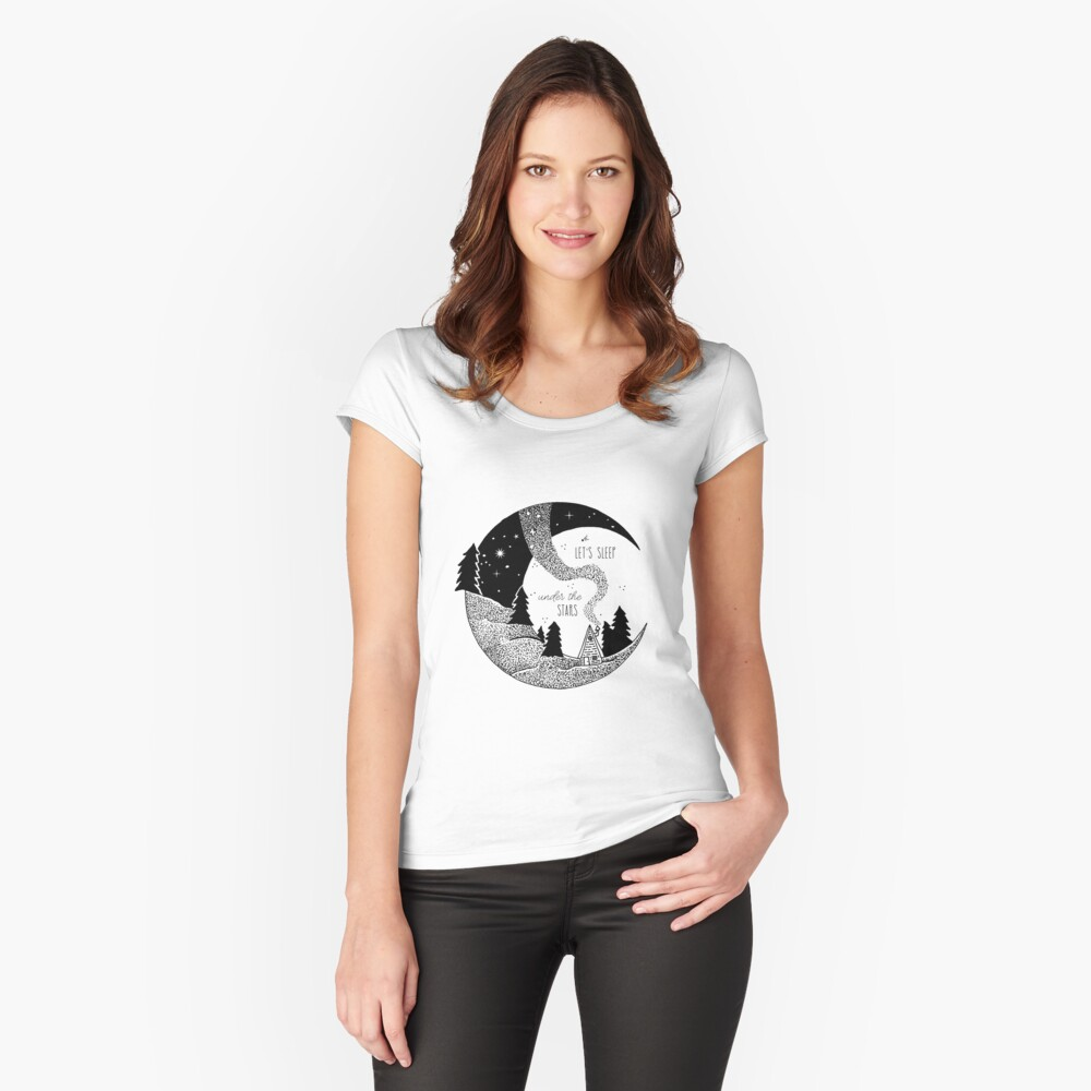 Let's Sleep Under the Stars Women's Fitted Scoop T-Shirt Front