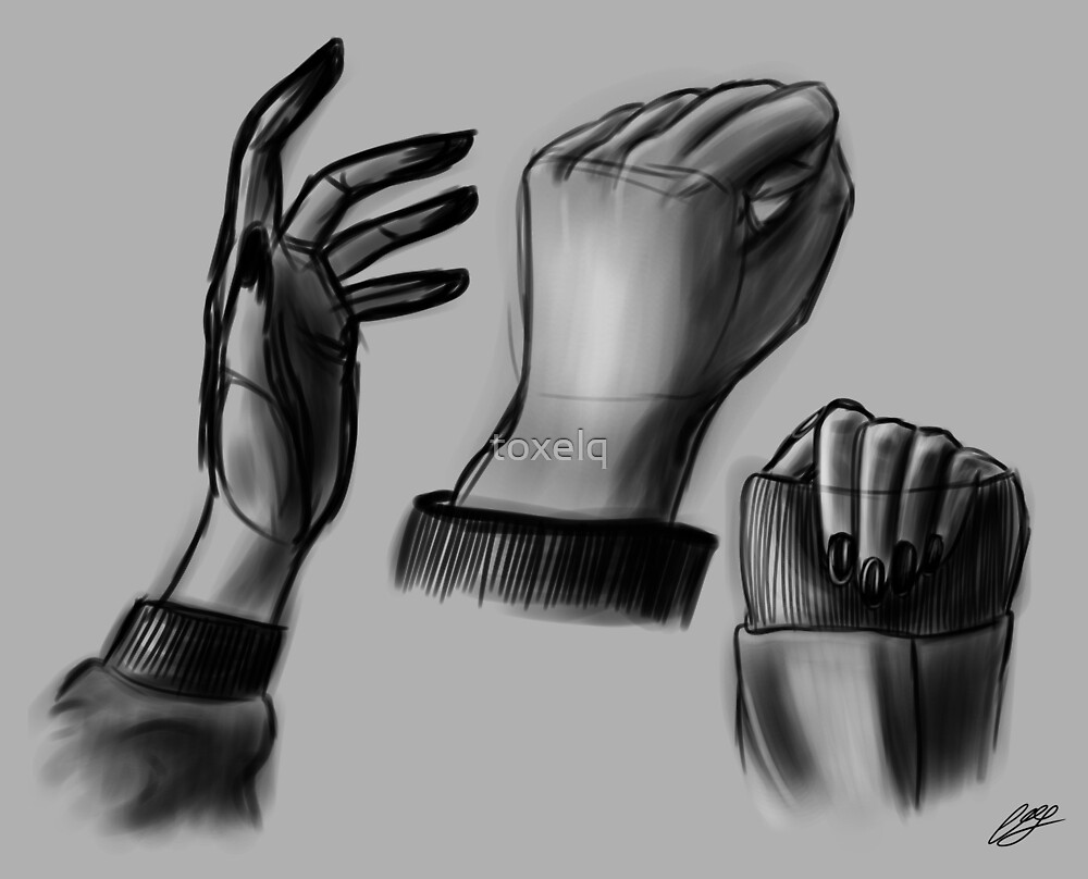 Hand study - Grayscale by toxelq
