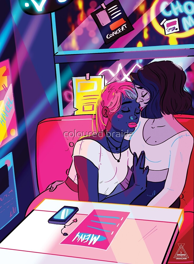 neon kiss by coloured braids