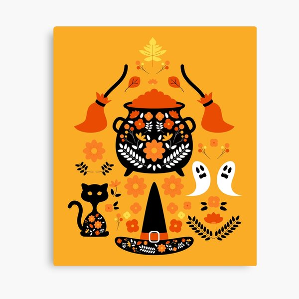 Witches Halloween Essentials Pattern Canvas Print