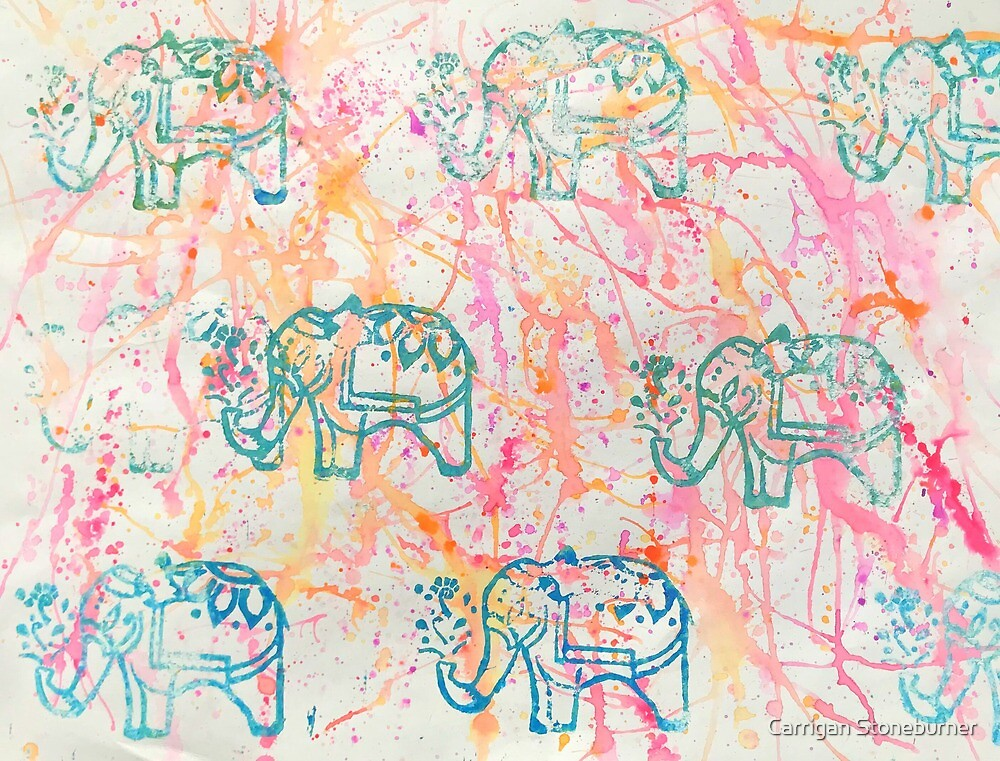 Colorful Elephant by Carrigan Stoneburner