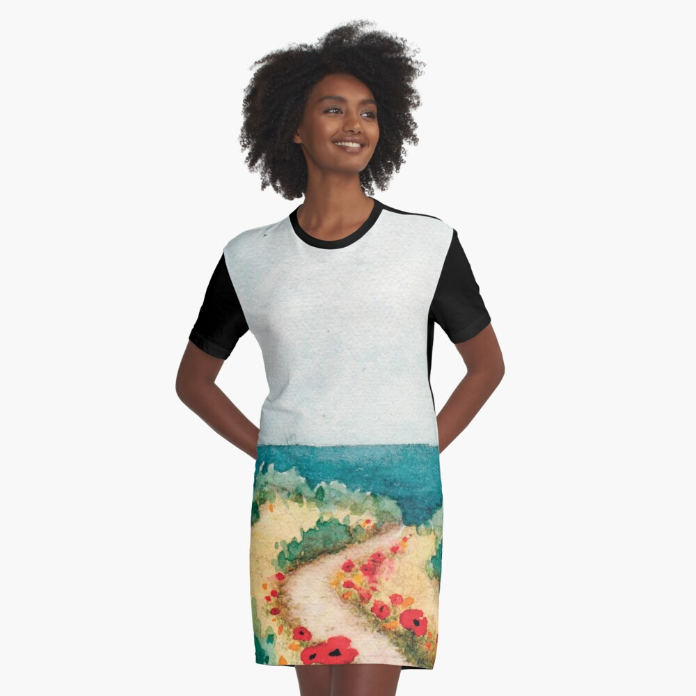 Poppies by the Sea Graphic T-Shirt Dress Front