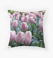 Pink Tulips at Queen Elizabeth Park Throw Pillow