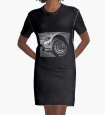 Indy 500 Black and White Graphic T-Shirt Dress