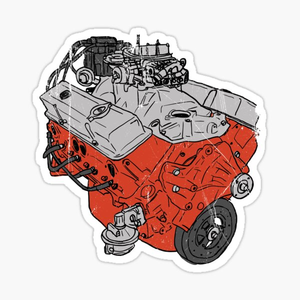 350 V8 GM Muscle Car Engine Sticker