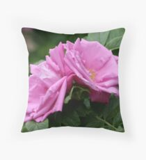 Pink Roses Atop Rich Foliage Throw Pillow