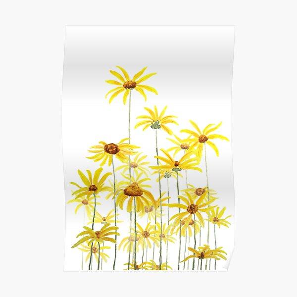 yellow Jerusalem artichoke flower watercolor  Poster