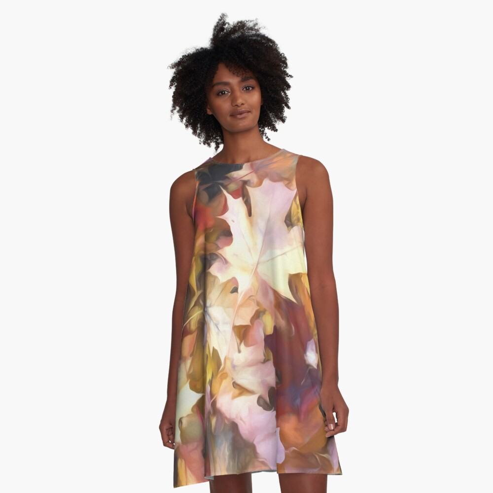 Fall leaves Bright A-Line Dress Front