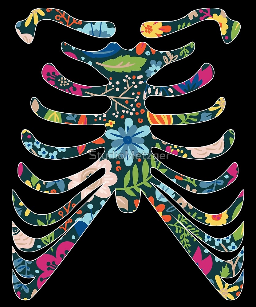 Whimsical Floral Skeleton Halloween Costume T Shirt by StudioMetzger