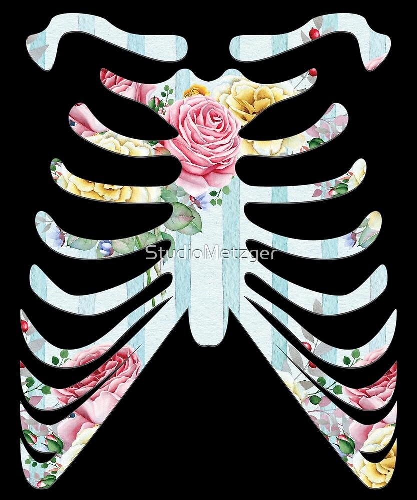 Vintage Rose Skeleton Halloween Costume T Shirt by StudioMetzger