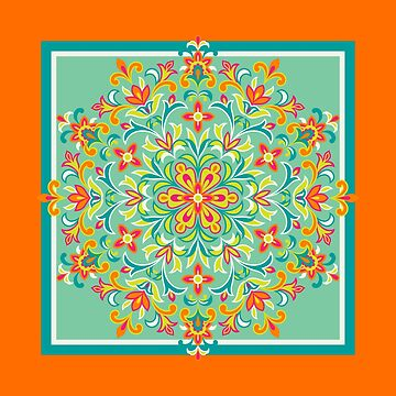 Ethnic Multicolored Floral Kaleidoscope in Orange, Seafoam and Teal by IcArtsyOrigin8