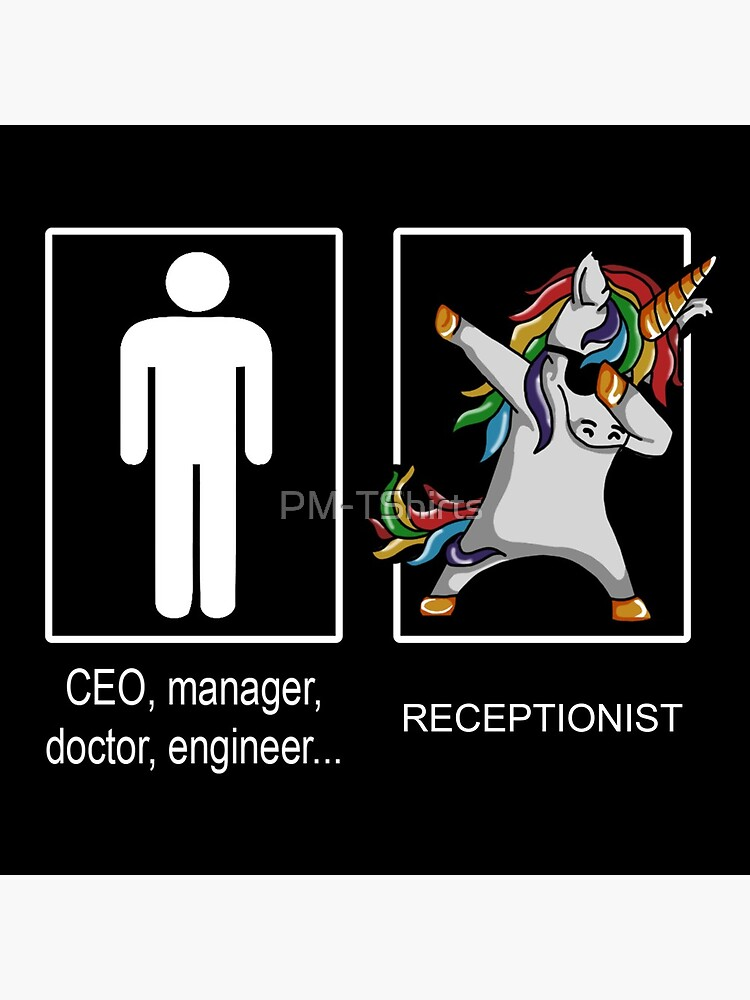 Unicorn Receptionist Occupation Dab Pose by PM-TShirts