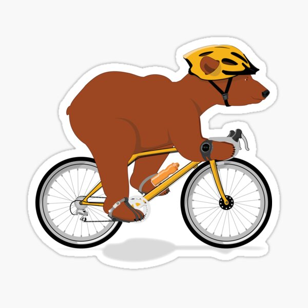 Cycling Grizzly Bear - Brown Bear Sticker