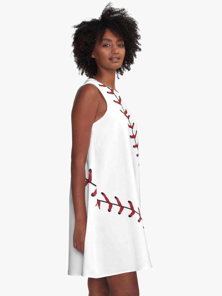 Alternate view of Baseball Lace stitches A-Line Dress