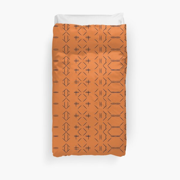 Simple geometric pattern 02 in orange Duvet Cover
