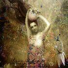 Mujer con vasija, flores letradas y colibríes by DMCart Daniela M. Casalla