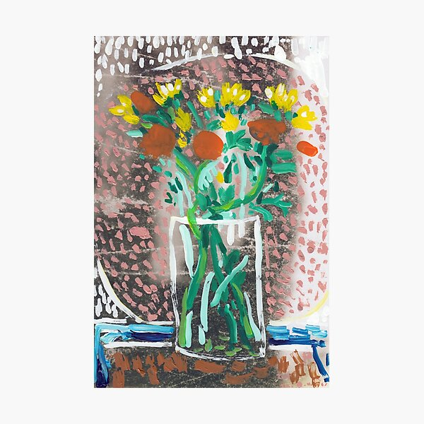 Yellow and Orange Flowers in a Vase Photographic Print