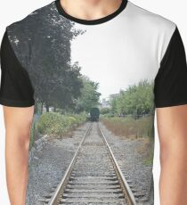 railway, train, railroad, rail, track, travel, transportation, tracks, steel, road, transport, rails, landscape, perspective, line, journey Graphic T-Shirt