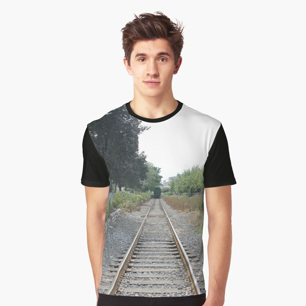 railway, train, railroad, rail, track, travel, transportation, tracks, steel, road, transport, rails, landscape, perspective, line, journey Graphic T-Shirt Front