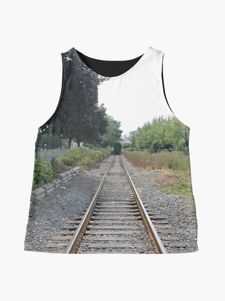 Alternate view of railway, train, railroad, rail, track, travel, transportation, tracks, steel, road, transport, rails, landscape, perspective, line, journey Sleeveless Top