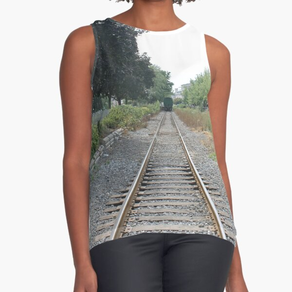railway, train, railroad, rail, track, travel, transportation, tracks, steel, road, transport, rails, landscape, perspective, line, journey Sleeveless Top