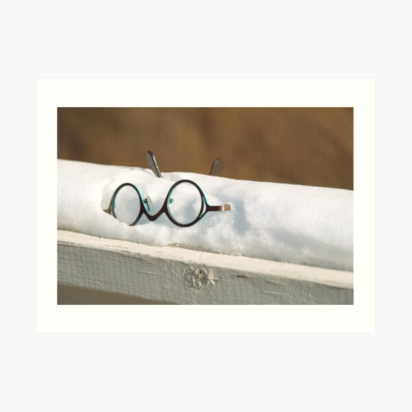 Glasses in the Snow Art Print