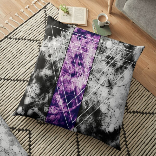Geometric digital art, white, black and purple, triangle Floor Pillow