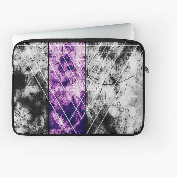 Geometric digital art, white, black and purple, triangle Laptop Sleeve