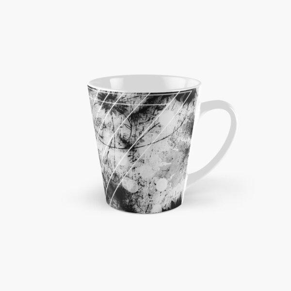 Geometric digital art, white, black and purple, triangle Tall Mug