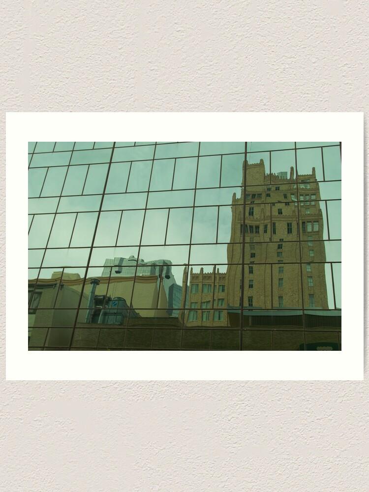 Alternate view of Buildings in Glass Art Print